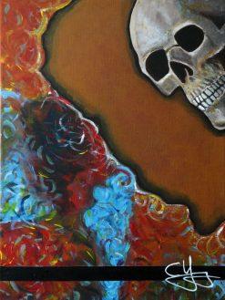 skull roses painting