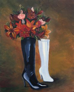 abstract-leather-boots-and-flowers-painting