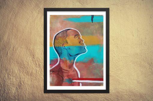 framed african american portrait art