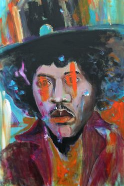 brown acid jimi hendrix portrait abstract